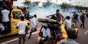 Anhängare till oppositionsledaren Felix Tshisekedi. JOHN WESSELS / AFP