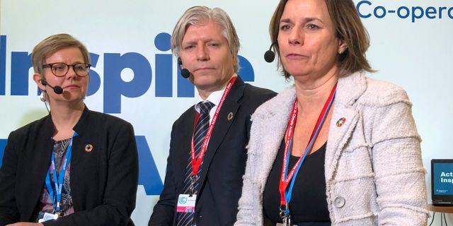 Finlands miljöminister Krista Mikkonen, Norges dito Ola Elvestuen och klimatminister Isabella Lövin Maria Davidsson/TT / TT NYHETSBYRÅN