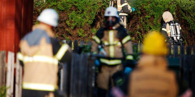 Räddningstjänstpersonal och avspärrningar vid förskolan i Gustavsberg Fredrik Persson / TT Nyhetsbyrån
