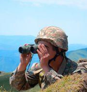 En armenisk soldat i regionen Tavusj vid gränsen till Azerbajdzjan. TT NYHETSBYRÅN