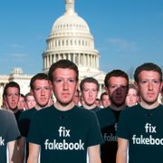 One hundred cardboard cutouts of Facebook founder and CEO Mark Zuckerberg stand outside the US Capitol in Washington. SAUL LOEB / AFP