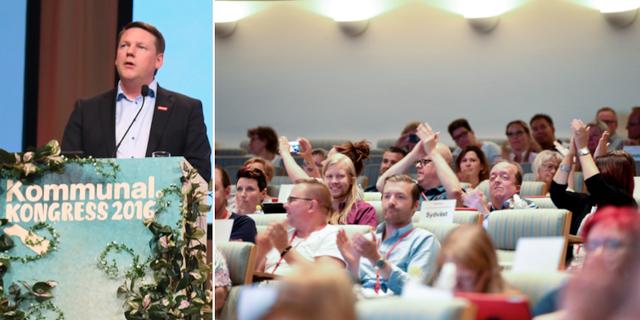 Förbundsordförande Tobias Baudin talar under fackförbundet Kommunala kongress 2016. TT