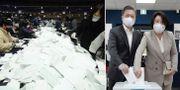 Röster räknas i Seoul/Moon Jae-In och frun Kim Jung-Sook när de förtidsröstade i helgen. TT