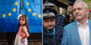 En flicka i vallokal till vänster/Liviu Dragnea till höger. Vadim Ghirda / TT NYHETSBYRÅN