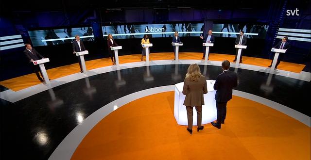 Partiledardebatten i SVT. SVT/Skärmdump