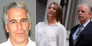 Jeffrey Epstein/Courtney Wild med sin advokat. TT