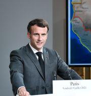 Emanuel Macron på dagens presskonferens. Stephane de Sakutin / TT NYHETSBYRÅN