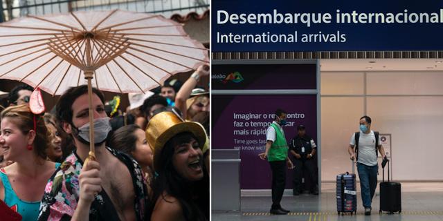 En man i mask deltar i festligheter inför karnevalen /Jobim Galeao-flygplatsen i Rio de Janeiro TT