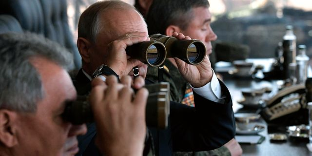 Putin under en militärövning 2018. Alexei Nikolsky / TT NYHETSBYRÅN/ NTB Scanpix