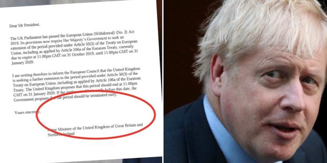 Brevet till EU utan signatur / Boris Johnson. TT
