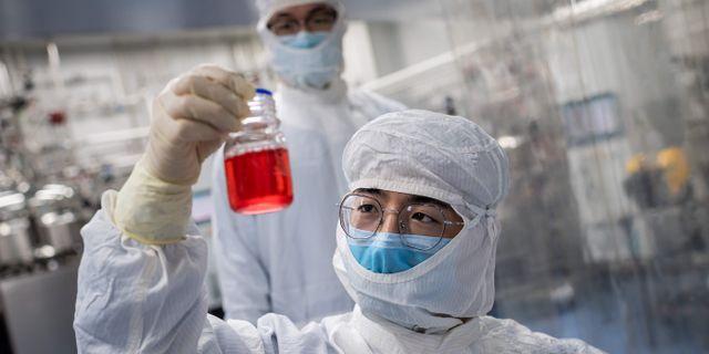 Kinesisk forskningsanläggning där tester görs för att utveckla ett vaccin. NICOLAS ASFOURI / TT NYHETSBYRÅN