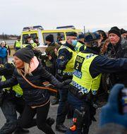 Bild från protesterna mot coronarestriktionerna. Henrik Montgomery/TT / TT NYHETSBYRÅN