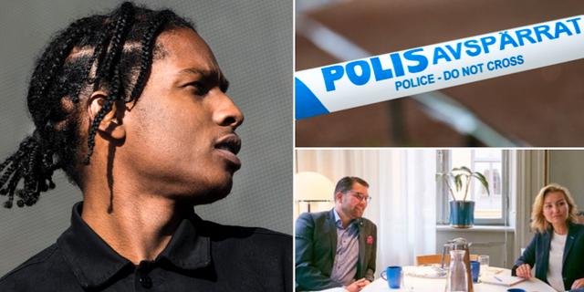 Asap Rocky, polisavspärrningar och lunchmötet mellan Ebba Busch Thor (KD)  och Jimmie Åkesson (SD) TT / KD-ledaren Ebba Busch Thors sociala medier
