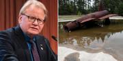 Försvarsminister Peter Hultqvist (S) och en plats där PFAS-kemikalier använts vid brandsläcknig.  TT