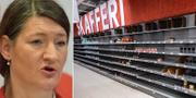 Susanna Gideonsson/tomma hyllor i coronakrisens spår. TT