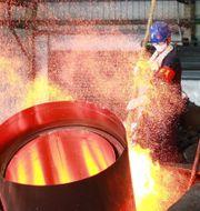 Arkivbild: Smält koppar på en anläggning i Zhejiang, Kina.  TPG / Getty Images AsiaPac
