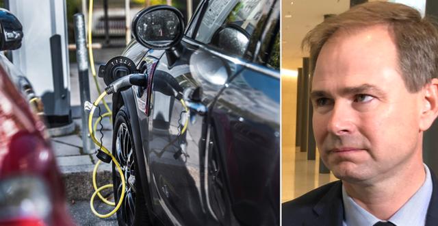 Elbil laddas/Danmarks finansminister Nicolai Wammen. TT