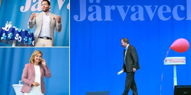 Jimmie Åkesson (SD), Ebba Busch Thor (KD) och Stefan Löfven (S) på förra årets Järvavecka. TT