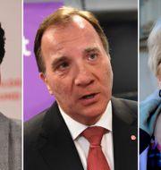 SSU:s ordförande Philip Botström, Statsminister Stefan Löfven och S-kvinnors ordförande Carina Ohlsson.    TT
