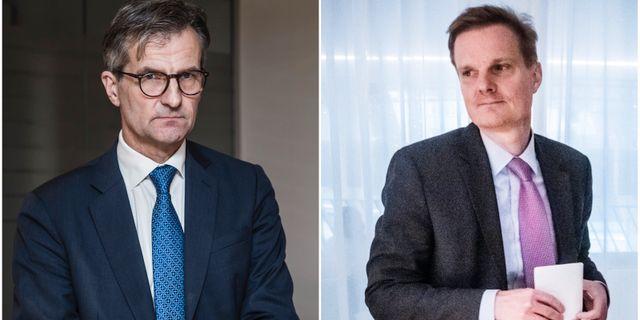 FI:s generaldirektör Erik Thedéen och Swedbanks vd Jens Henriksson  TT