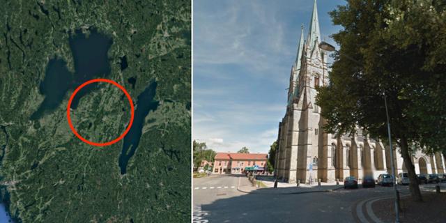 Här inträffade skalvet/Illustrationsbild, Skara domkyrka Google maps/street view