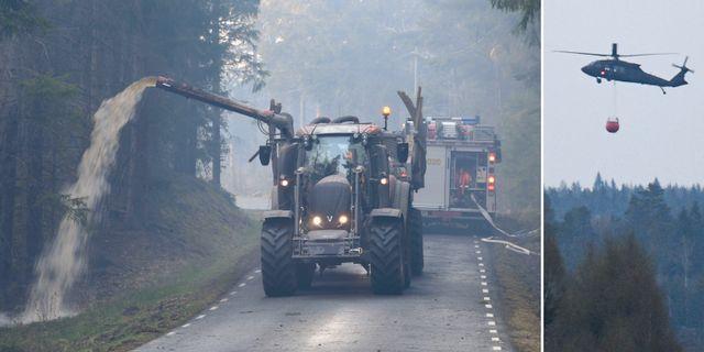 Med hjälp av traktor och gödseltank vattenbegjuter man vägarna i skånska Hästveda. TT