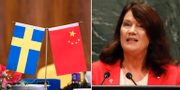 Svensk och kinesisk flagga/Ann Linde. TT