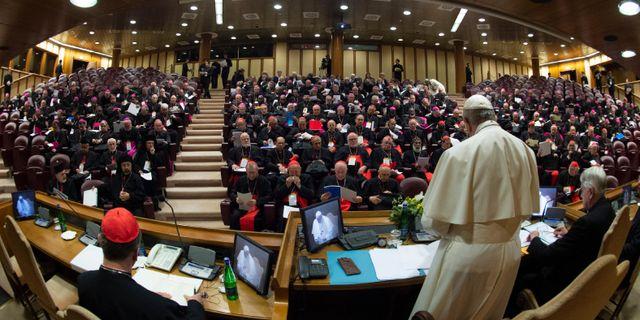 Påven under mötet HANDOUT / VATICAN MEDIA
