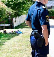 Två personer dog när en familj på cykel blev påkörda i Färjestaden på onsdagen. Mikael Fritzon/TT / TT NYHETSBYRÅN