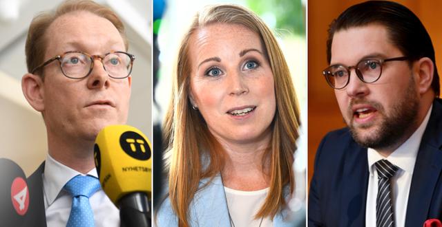 Billström, Lööf och Åkesson.  TT.