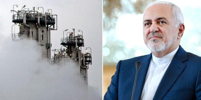 En del av kärnkraftverket vid staden Arak och Mohammad Javad Zarif . AP