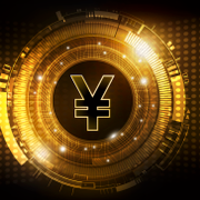Chinese Yuan digital currency, Yuan currency futuristic digital money on gold abstract technology background worldwide network concept, illustration Shutterstock