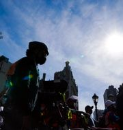 Cykelbud protesterar i New York mot rånvågen i oktober 2020/Arkivbild Frank Franklin II / TT NYHETSBYRÅN