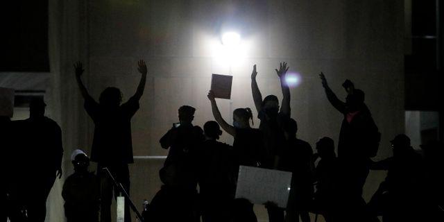 Måndagens protester i Las Vegas John Locher / TT NYHETSBYRÅN