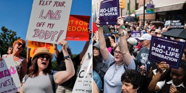 Arkivbilder från demonstrationer för och emot abort. TT.