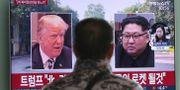 En man kollar på en tv i Sydkorea. Ahn Young-joon / TT NYHETSBYRÅN/ NTB Scanpix