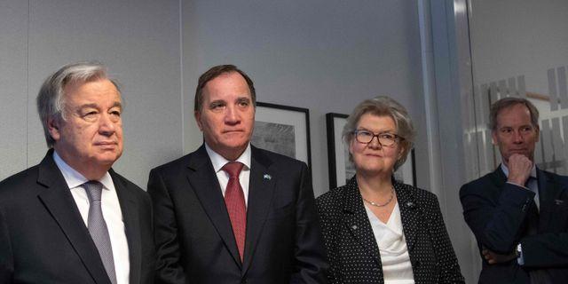 Guterres och Löfven på plats i Kungliga biblioteket JONATHAN NACKSTRAND / AFP