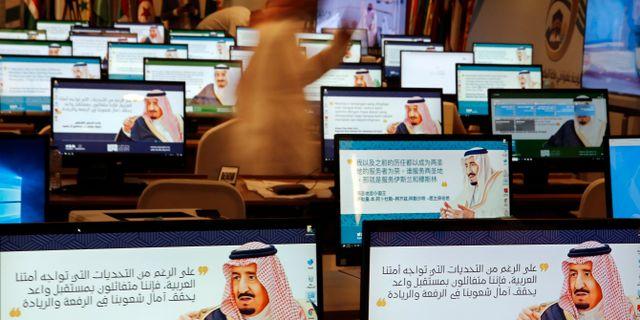 Skärmsläckare visar Saudiarabiens kung Salman. Amr Nabil / TT NYHETSBYRÅN/ NTB Scanpix