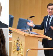 Serkan Köse, Esma Yagci och Ulf Kristersson. Pressbilder/TT