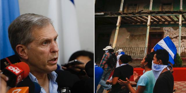 Guillermo Fernandez Maldonado, chef för FN-gruppen i Nicaragua/demonstranter protesterar mot regimen TT