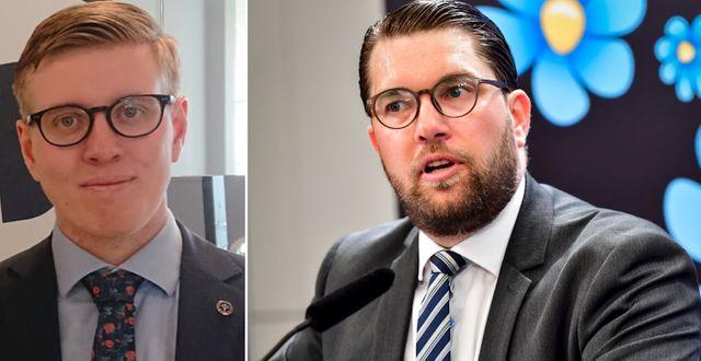 Dennis Askling och Jimmie Åkesson. Pressbild/TT