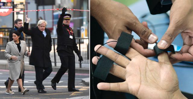 Premiärminister Boris Johnson på plats vid London Bridge efter attacken/Arkivbild, lögndetektortest. TT