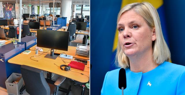 Tomma kontorsplatser på ett företag i Stockholm / Finansminister Magdalena Andersson (S) TT