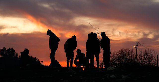 Flyktingar vid gränsen mellan Turkiet och Grekland igår. Emrah Gurel / TT NYHETSBYRÅN