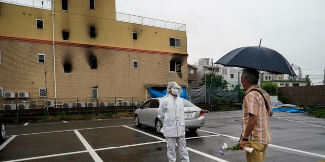 Den utbrända byggnaden i Kyoto. Jae C. Hong / TT NYHETSBYRÅN/ NTB Scanpix