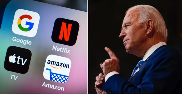 Apple, Google och Amazon är tre av företagen som är med i den nya intresseorganisationen. USA:s president Joe Biden till höger. TT