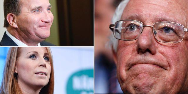 Stefan Löfven, Annie Lööf och Bernie Sanders. TT