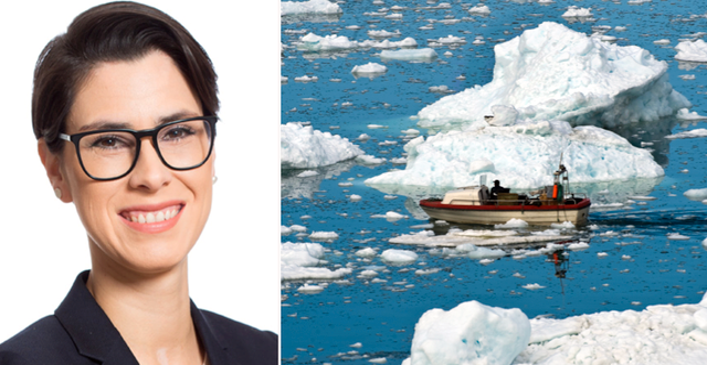 Karina Barquet och en fiskebåt på Grönland.  Stockholm Environment Institute och TT