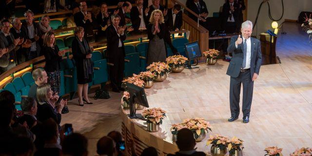 Fjolårets vinnare av ekonomipriset Richard Thaler under en föreläsning på Stockholms universitet.  Henrik Montgomery/TT / TT NYHETSBYRÅN
