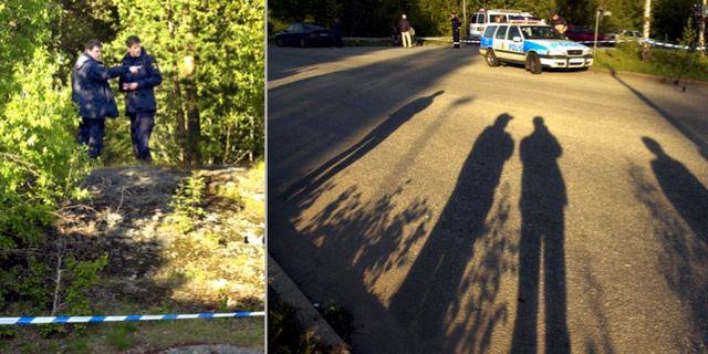 En elvaårig pojke hittades död i Södertälje 2001. Polisen undersöker platsen. TT